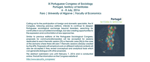 IX Portuguese Congress of Sociology - Portugal, territory of territories